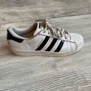 Adidas white w/ black 3 band classic sneakers 9